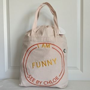 See By Chloe I Am Funny Cotton Canvas Tote NWT